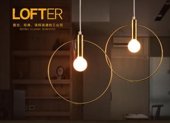 Luce moderna Del Pendente Per Hall Sala da pranzo singolo anello Arti Decorazione di illuminazione Oro Antico Lampada a sospensione pendant E14 luci