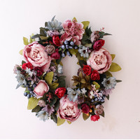 35cm Romantic Wedding Artificial Flower Handmade Rustic Hanging Door Decoration Party Garland Wedding Flower Supplies
