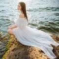 yomrzl women's Elegant slit neckline chiffon dress white strapless sexy off shoulder full dress M387