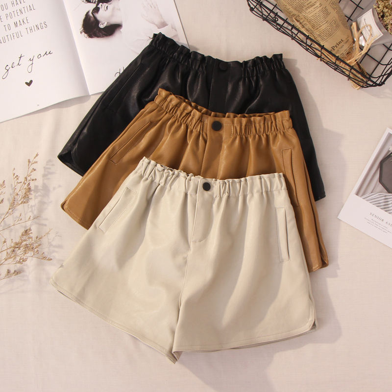 Plus Size 5XL PU Leather   Shorts   Women New Autumn Winter Thin Washed Leather Black Khaki   Short   Femme Wide Leg Women   Shorts   C4835