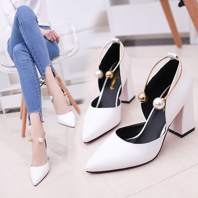 High-Heels Work-Shoes Pearl Temperament Elegant Thick Middle White Fashion Simple New