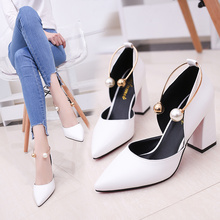 Temperament elegant pearl high heels 2019 new white thick with single s