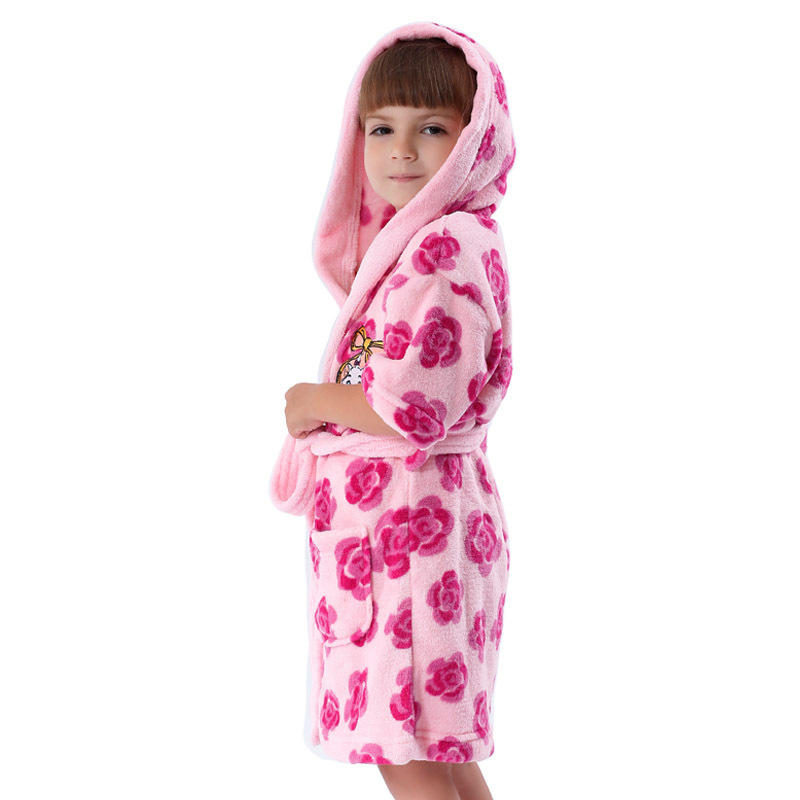 Girls Robe With Hood Coral Fleece Printed Floral Albornoz Infantil ...