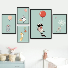 Balloon Panda Fox Rabbit Koala Raccoon Wall Art Canvas Painting Cartoon Nordic Posters And Prints Pictures For Kids Room