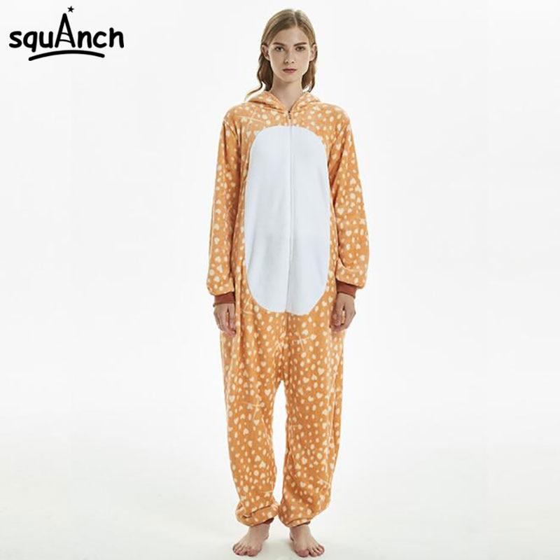 2420e10b3f4f Sika Deer Kigurumi Onesie Women Adult Winter Sleepwear Lovely Cute ...