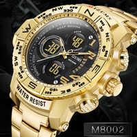 Mizums relojes digitales deportivos para hombre, reloj de cuarzo de doble pantalla de lujo para hombre, reloj de pulsera militar para hombre