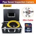 Eyoyo 7D1 30 M 7 Pantalla LCD DVR alcantarillado impermeable cámara de vídeo inspección de tuberías de desagüe 12 Led