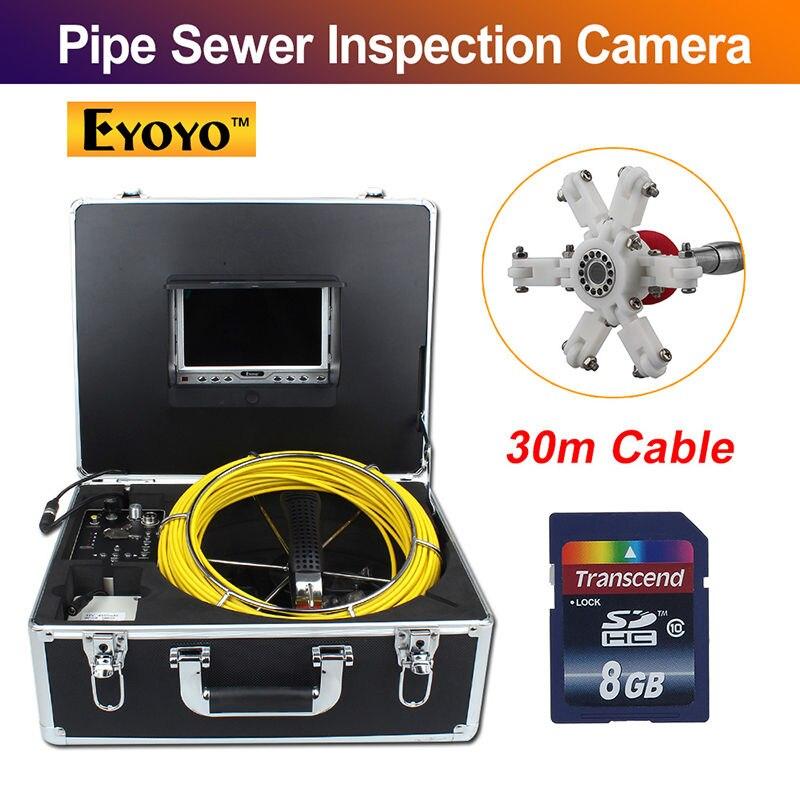 Eyoyo 7D1 30 m 7 Écran LCD DVR D'égout Étanche Caméra Vidéo D'inspection De Tuyau de Drain de 12 Led