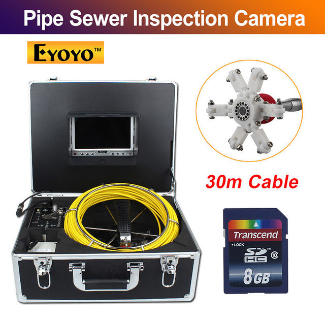 "Eyoyo 7D1 30M 7"" LCD Screen DVR Sewer Waterproof Video Camera  Drain Pipe Inspection 12 Led"