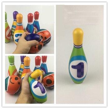 8pcs/set Soft PU Bowling Bottle Ball Game Cute Cartoon Shape for Kids Children Early Development Sports Toys Exquisite gift