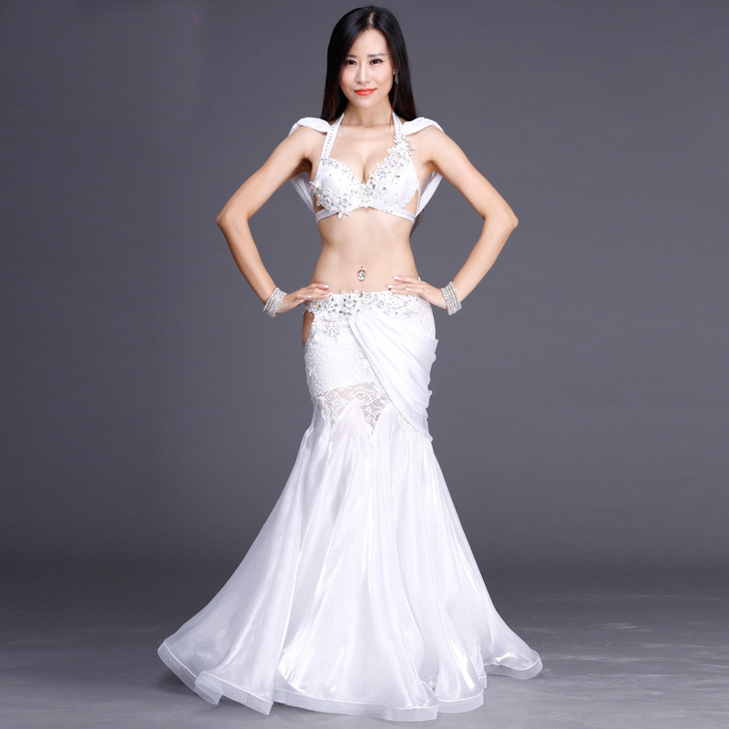 New fashion Lace Rhinestone Floral Long Skirt Sexy Belly dance 2pcs set for women/female Dancer, costume performance weas BY002