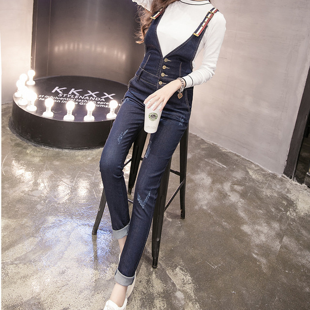 New Arrival 2017 Jumpsuits Jeans Autumn Women Jumpsuit Denim Overalls Pencil Pants Jeans S-XL Bodysuit E4