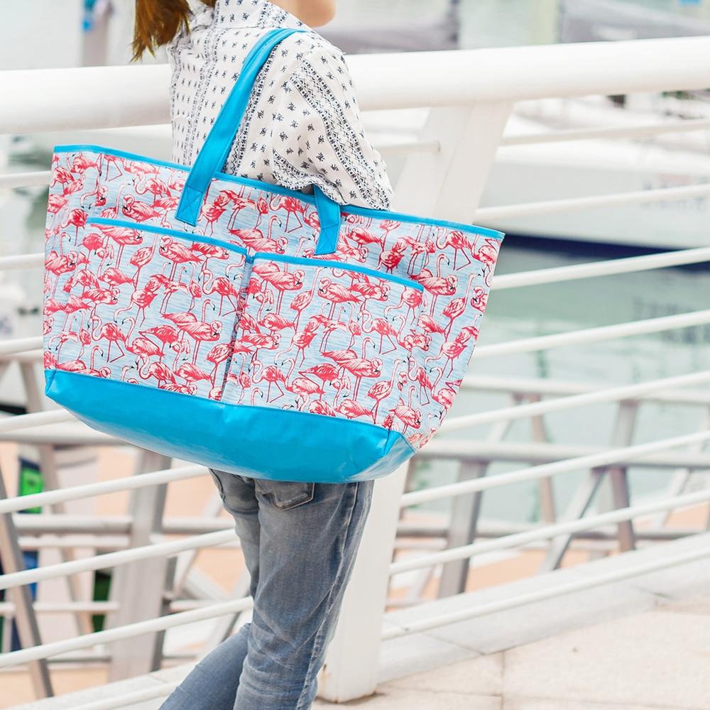 Mealivos Summer Naiste lõuend veekindel flamingod Õlad Beach Bag - Käekotid - Foto 5
