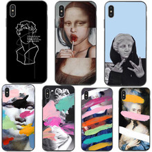 лучшая цена Abstract Art Lines David Print Phone Case For iPhone X XS MAX XR Mona Lisa funny Spoof Cover For iPhone 7 8 6 6s Plus 5 5S SE