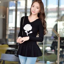 Original 2016 Brand Autumn and Winter Black Pearls Floral Ruffle V-Neck Elegant Jersey Mujer Pullover Sweater Women Wholesale