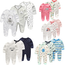 3 PCS/lot newbron winter Baby Rompers Long Sleeve set cotton