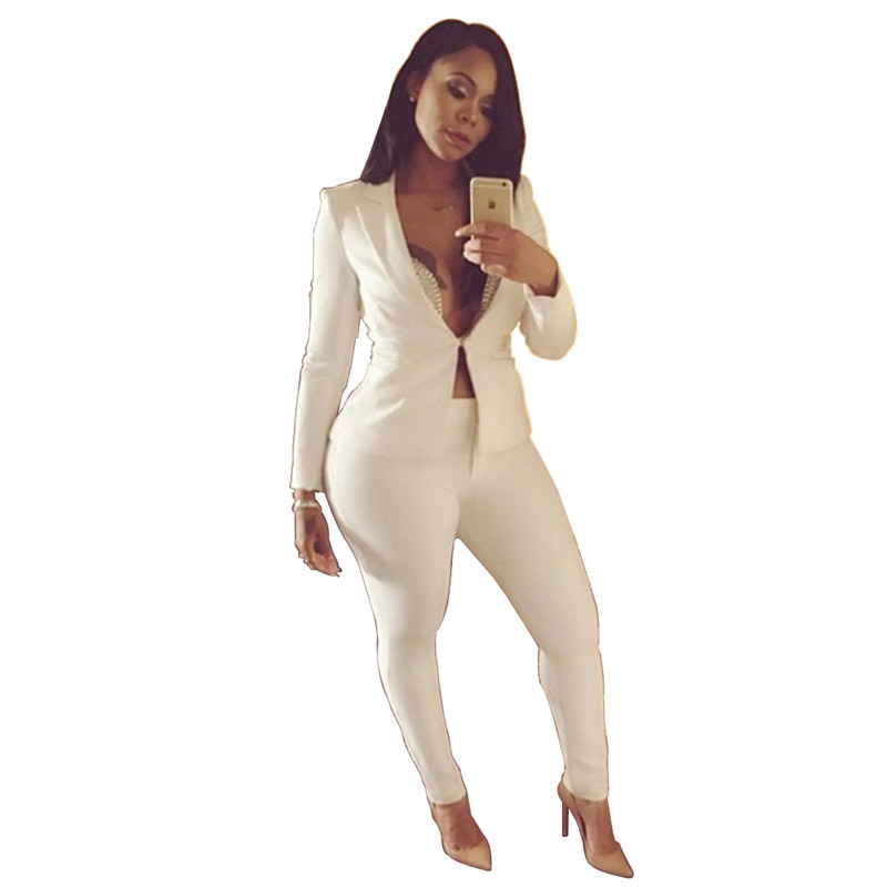 9a8cc1845093 African Lady 2018 Full Sleeve Sexy Fashion Deep V Neck Skinny Long Pants  Work Office Formal