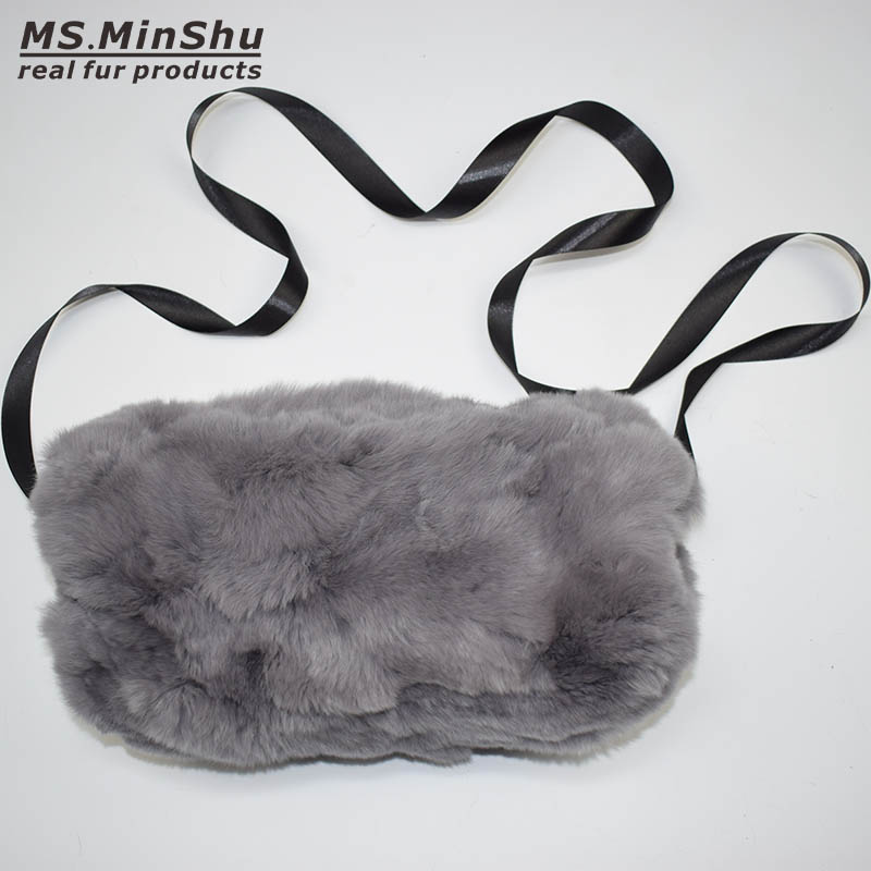 MS.MinShu Brand Real Fur Handmuff Winter Hand Warmer Real Rex Rabbit Fur Muff Fashion Woman Handmuff With Ribbon Hand Warmer