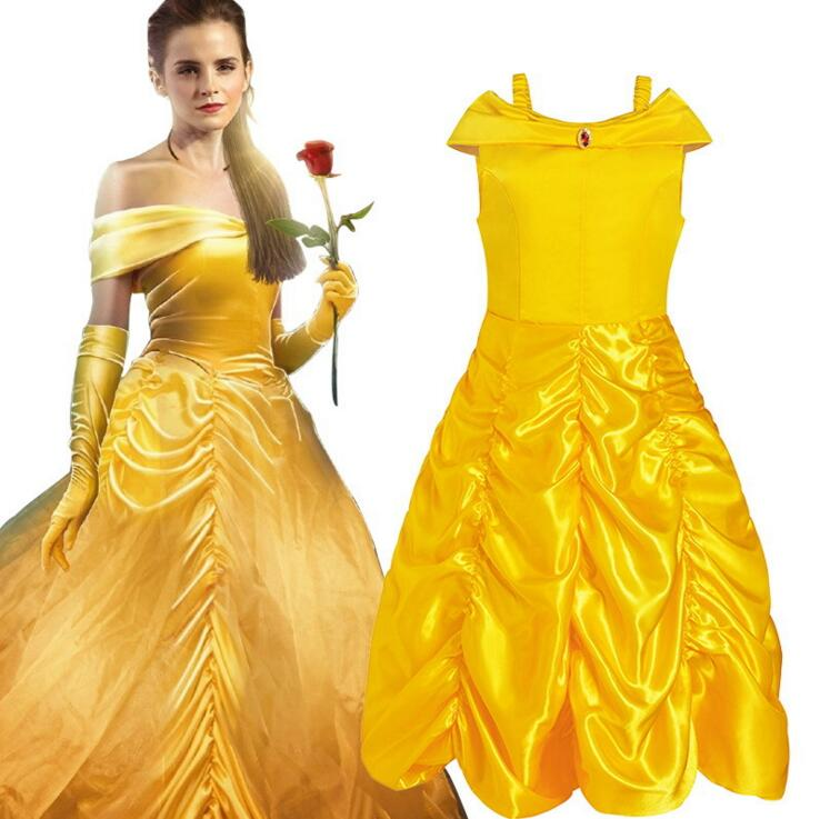 2017 Kids Girl Beauty and beast cosplay carnival costume kids belle princess dress for Christmas Halloween Dress For Girls все цены