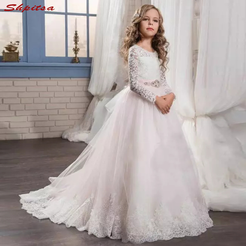 Long Sleeve Lace   Flower     Girl     Dresses   for Weddings Evening First Communion Pageant   Dresses   for Wedding   Girls   Kid