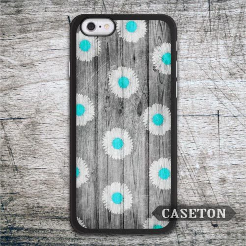 Water Blue Daisy With Wood Case For iPhone 7 6 6s Plus 5 5s SE 5c and For iPod 5 High Quality Classic Lovely Floral Phone Cover