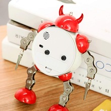 kid's cartoon metal robot with movable hands and legs alarm clock