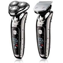 Nass trocken elektrische rasierer gesichts elektrische rasiermesser für männer männlichen bart rasieren maschine rotary kopf usb aufladbare 2in1 pflege kit