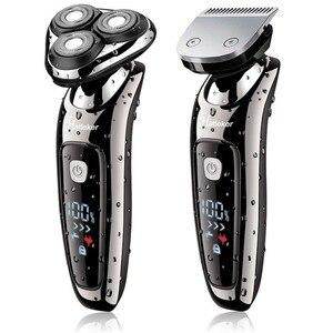 Image 1 - Rasoir électrique facial pour hommes, rechargeable par usb, tête rotative, rasoir sec et humide, pour barbe, kit de toilettage 2 en 1