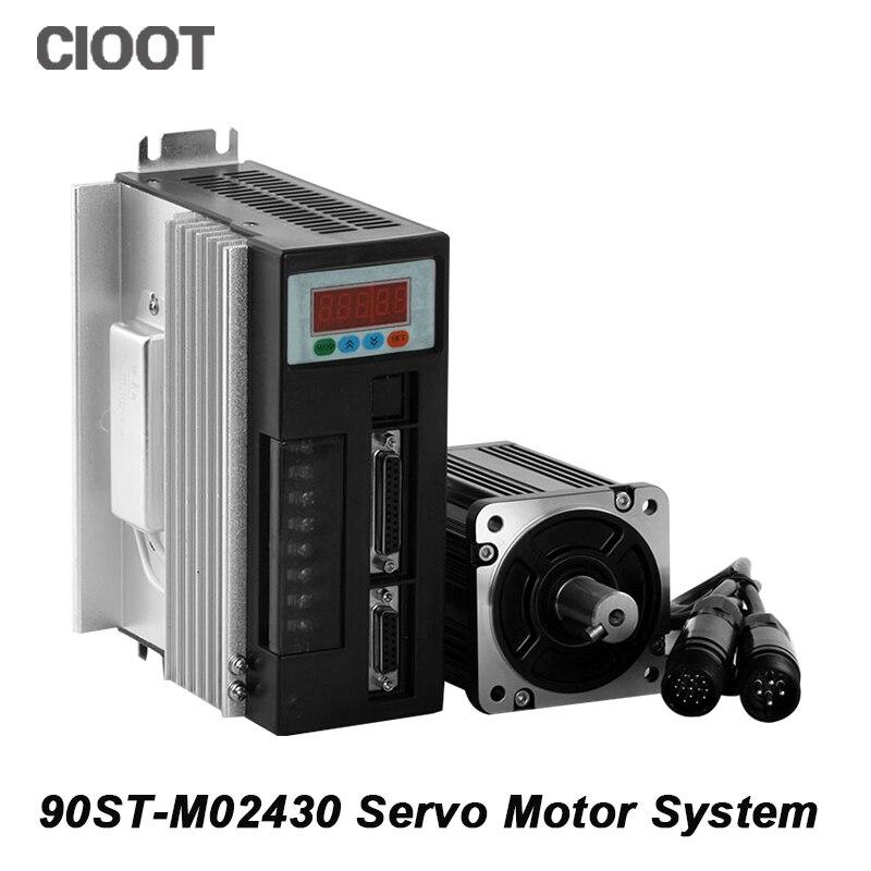 High Quality CNC Servo Motor Kit 90ST-M02430 220V AC Servo Motor Driver 3000RMP 750W Speed Motors high quality cnc servo motor kit 90st m02430 220v ac servo motor driver 3000rmp 750w speed motors