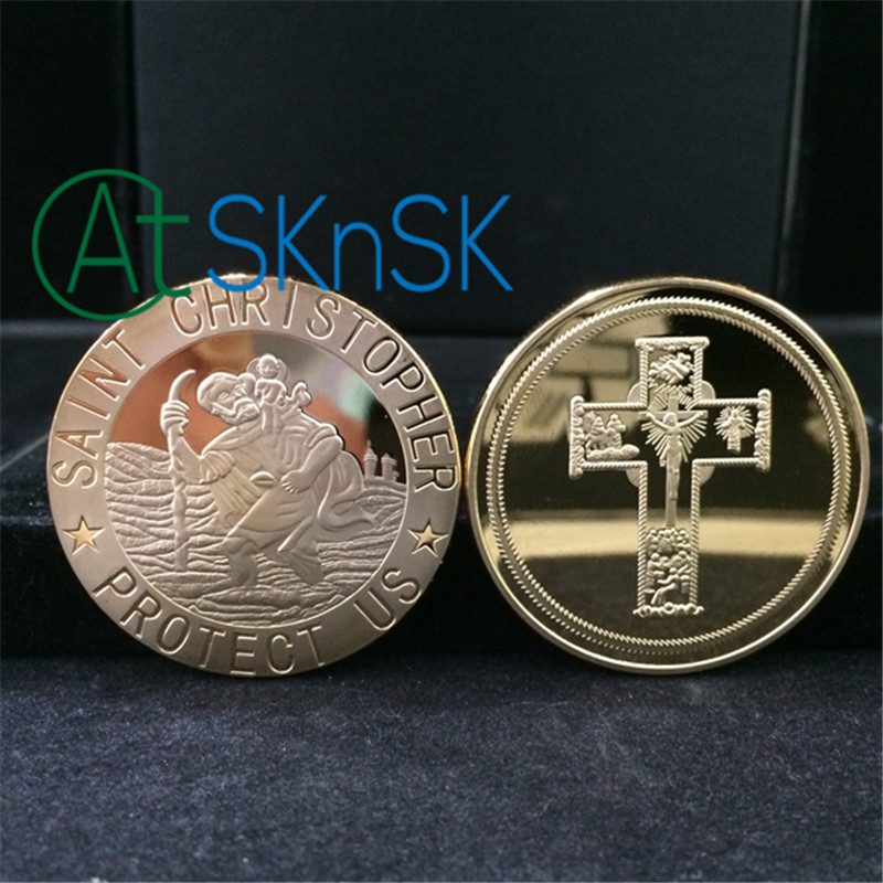 Saint Christopher Protect Us Silver/Gold Plated Coin Medal Christian Catholic Travel Cross Jesus Coins Collectibles for Charity