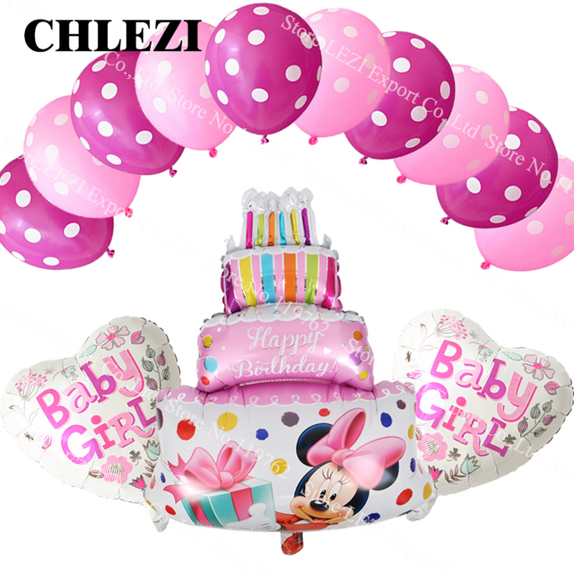 13pcs mickey minnie mouse cake star heart foil helium balloon latex