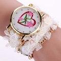 2016 Mujeres de La Manera Relojes Cinturón de Tela de Hilo Bobinado señora vestido reloj mujeres Flor Pulsera de Cuarzo Del Relogio Montre Femme