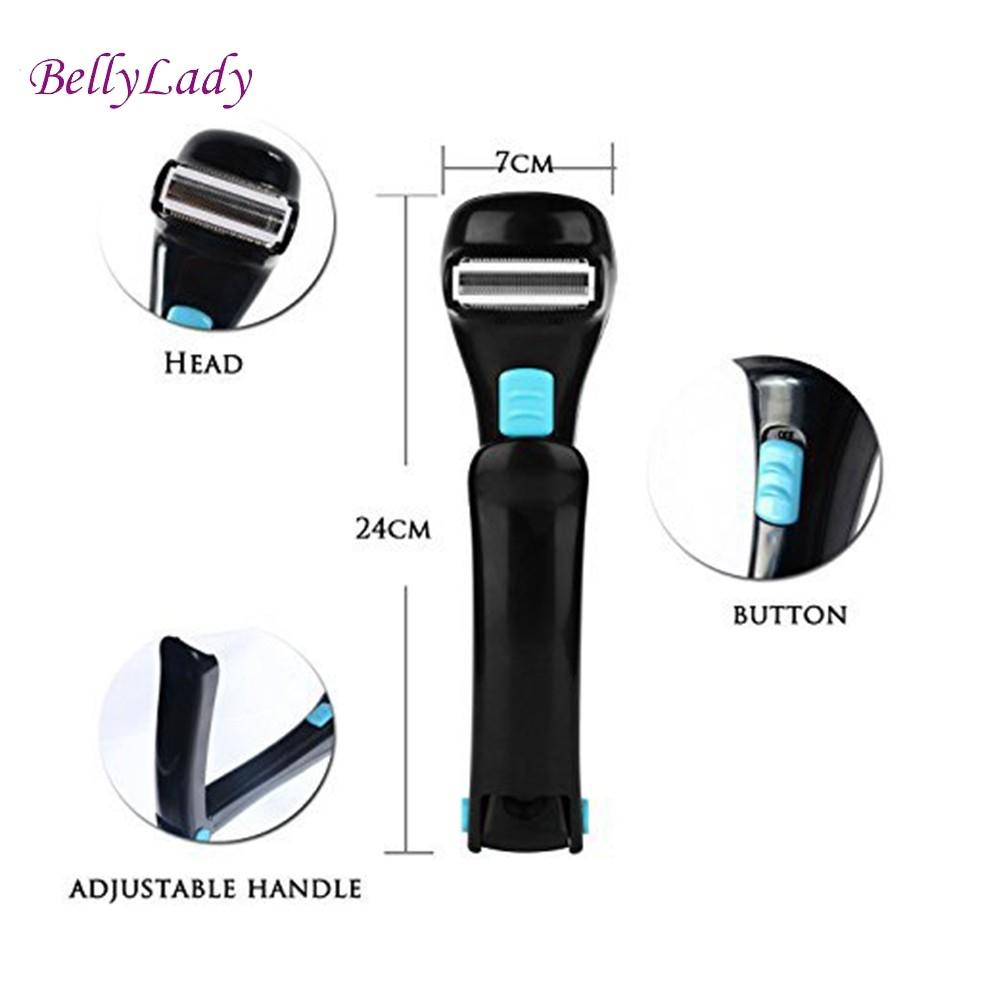 BellyLady Unisex Electric Back Hair Shaver Folding Plastic Long Handle Razor for All Body Parts Hair Blade Remover