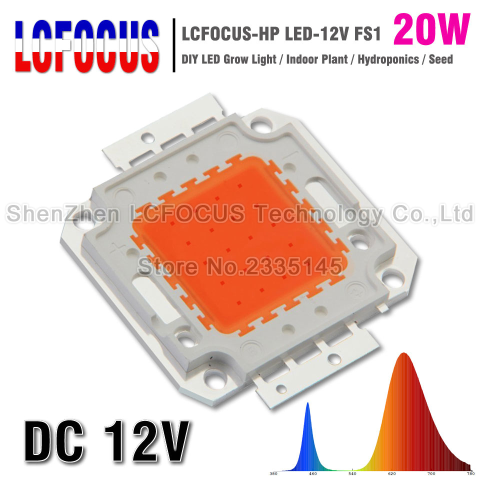 DC 12V Full Spectrum 20W Grow LED 400-840NM DIY 20W 60W 80W 100W 200W Grow Light For Hyd ...