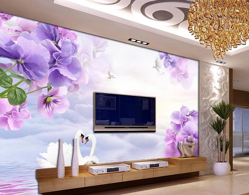 Aliexpress.com : Buy 3d Flower Wallpaper Dream Purple Flowers TV Backdrop  3d Wallpaper Modern For Living Room Murals Home Decoration From Reliable 3d  Flower ...