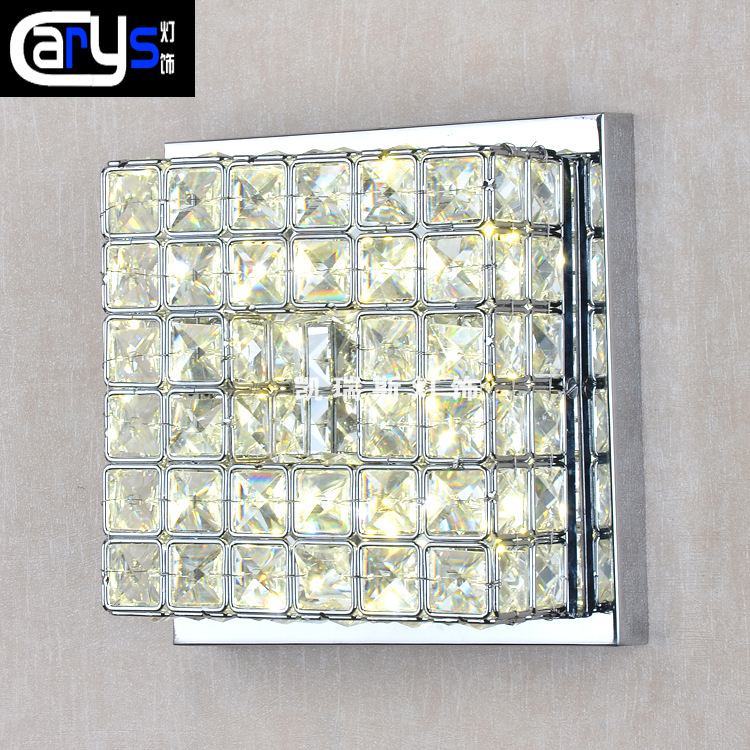 Wholesale hot led aisle lamp stainless steel square crystal ceiling lamp, hallway corridor corridor lights Taobao minimalist single ring d15cm crystal ceiling lamp led aisle lights stainless steel corridor home balcony dining room lighting