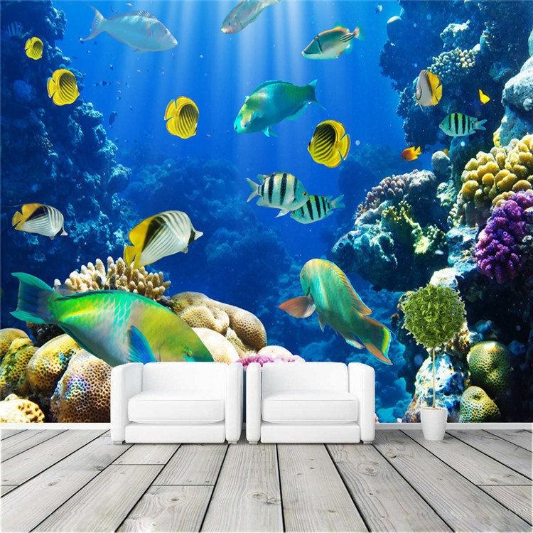 Coral Bedroom Accessories Uk Bedroom Wallpaper Black Carpet For Master Bedroom Bedroom Ideas Lilac: Cute Tropical Fish Photo Wallpaper 3D Custom Wall Mural