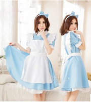 Free shipping Alice in Wonderland Costume Lolita Dress Maid Cosplay