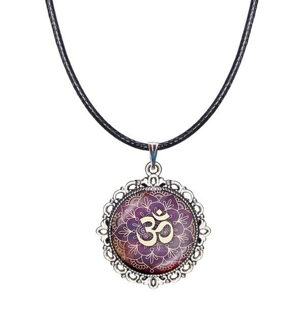 Mandala Collar Choker Necklace Purple Lotus Flower Necklace Om