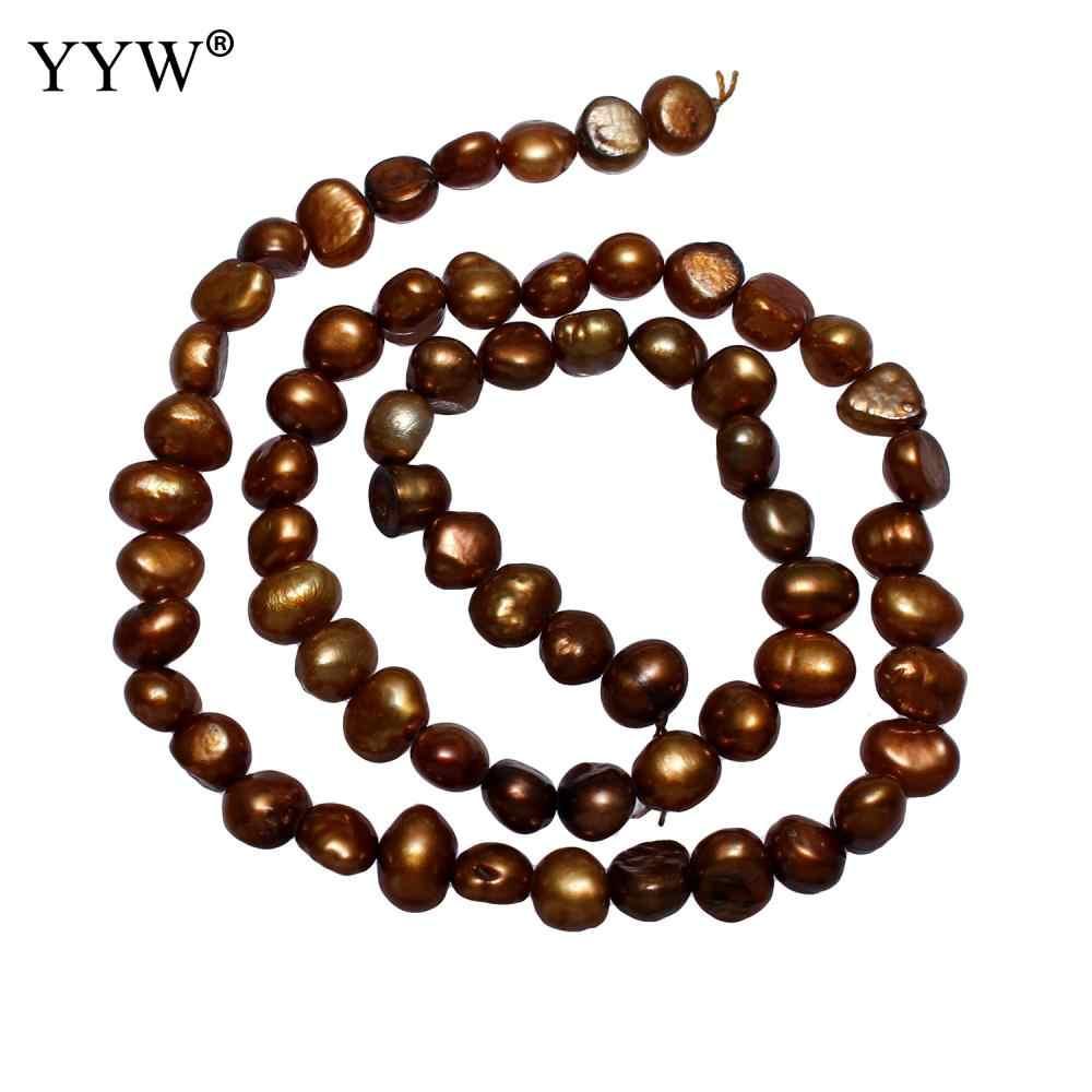 養殖ポテト淡水パールビーズコーヒー色 5-6 ミリメートル約 0.8 ミリメートル約 14.5 インチストランドあたり販売