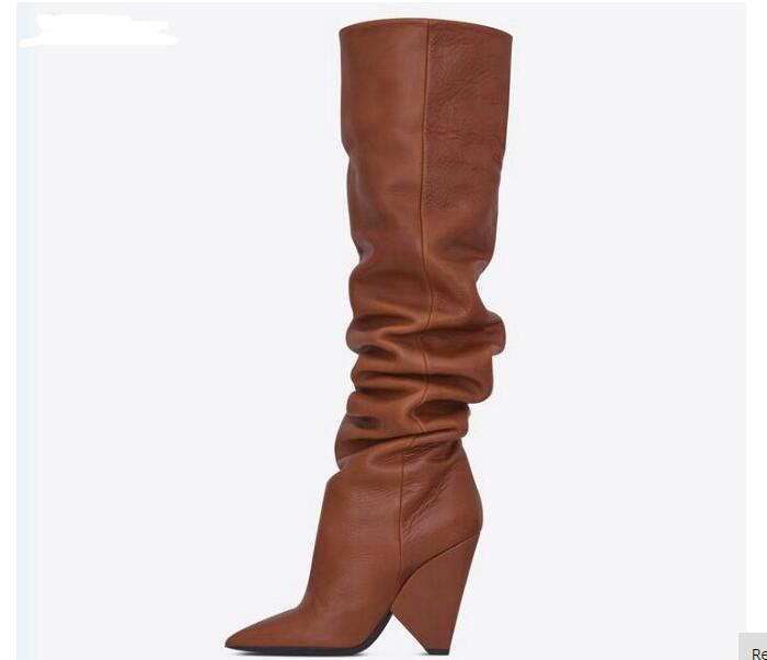 New Newest Pointed Toe Leather High Heel Boots 2018 Sexy Spike Heels Over the Knee Boots Riding Boots for Woman цена