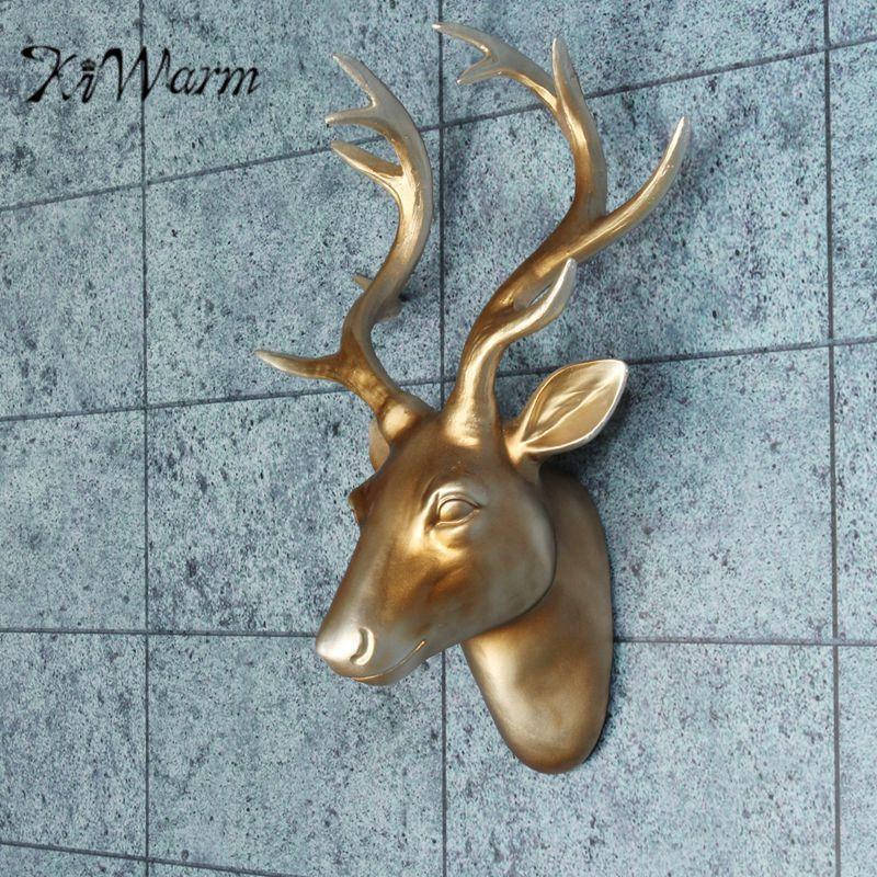 KiWarm Unique Exotic Resin Deer Head Elk Antlers Ornament Animal Wildlife Sculpture for Home Hotel Wall Hanging Decor Craft Gift
