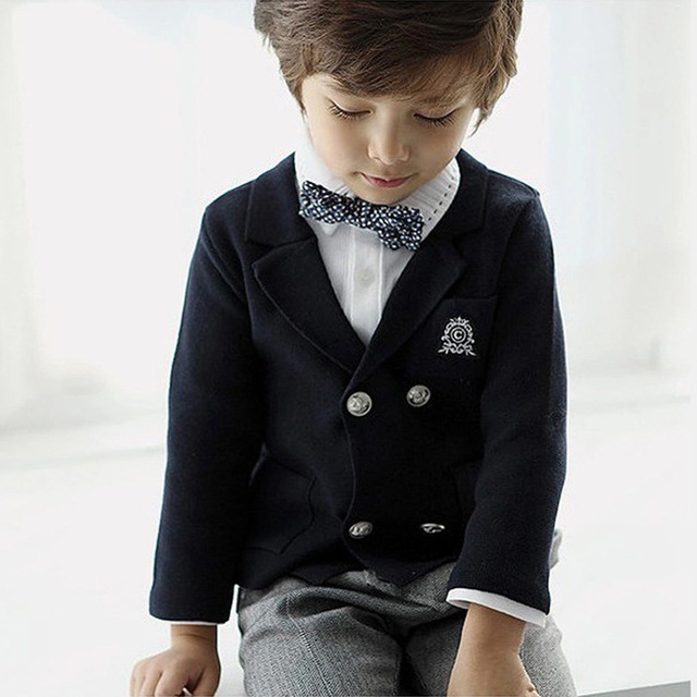 386c3cba0 Boy Gentleman Blue Double breasted Children Casual Blazer School ...