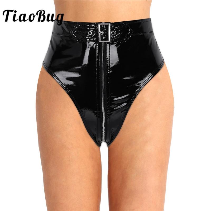 TiaoBug Women Lingerie Black Wet Look PVC High Cut Front Zipper with Belt Briefs Thong Underwear Female Club Wear Sexy   Panties