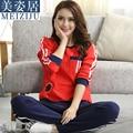 Jovem Mulher Pullover Primavera E Outono Cotton longo-luva camisola do Sono Set Lounge Pijama das mulheres