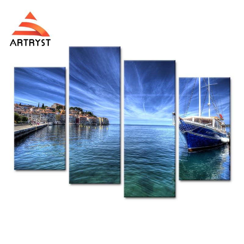4 panel modular tepi laut perahu, arsitektur landscape poster HD - Dekorasi rumah - Foto 1