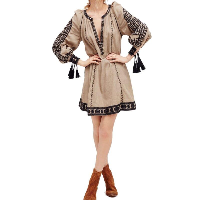Для женщин Винтаж Этническая Вышивка Повседневное мини Платья для женщин лето-осень Хиппи Boho люди шикарный праздник vestidos femininos Костюмы