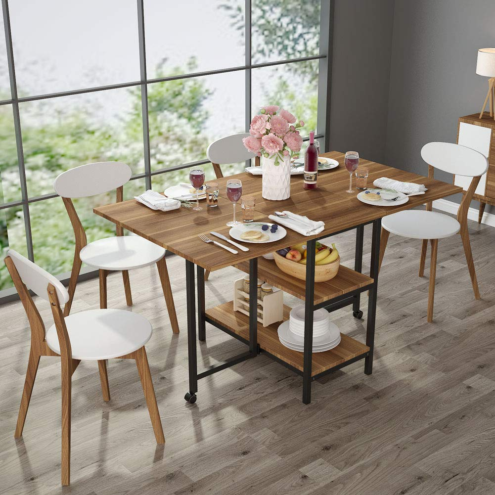 Folding Dining Table Expandable Double Drop Leaf 2 Tier Storage Shelf 2 Lockable Casters Home Kitchen Use Chairs Not Included Dining Tables Aliexpress