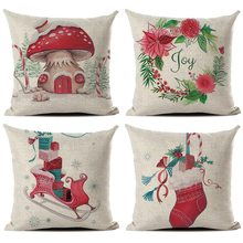 11.11 Christmas Linen Pillowcase Cover Leaf Pattern L4 Home Garden Home Textile Flower Drawing Pillow Case Q