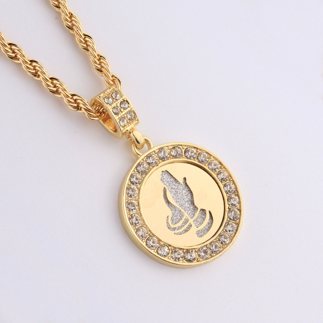 New trendy gold filled cz iced out praying hands round pendant new trendy gold filled cz iced out praying hands round pendant necklaces serenity prayer charm pray aloadofball Images